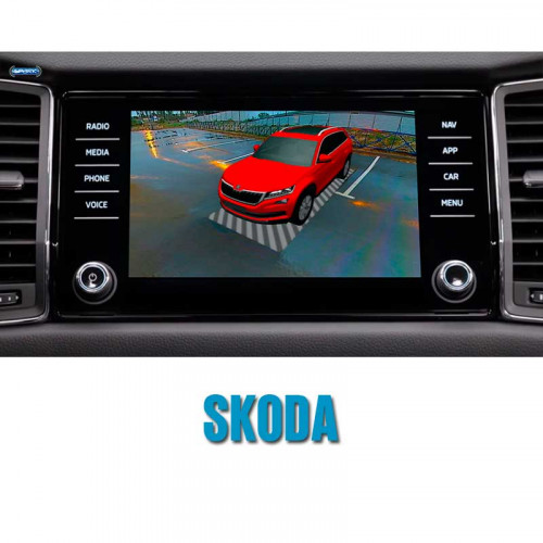 Штатная система кругового обзора автомобиля сПАРК-BDV-360-R для Skoda со встроенным видеоинтерфейсом, с функцией видеорегистратора
